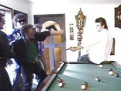 Billiard fuck for the hairy female