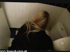 Fucking a blondes tight twat in the staffs toilet