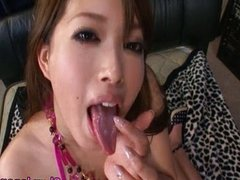Japanese lips wrapped around a cock