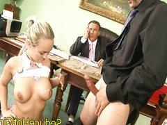 Sexy blonde fucks two guys