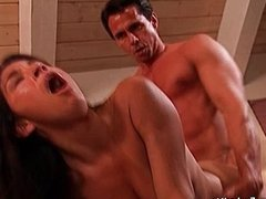 Sinfully brunette mom gives blowjob gets anal