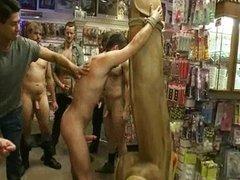 Sweet boy loves bondage spanking in public