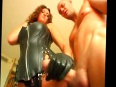 Curly haired girl in leather likes cock