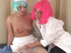 Cute teen babes with a wig love stroking