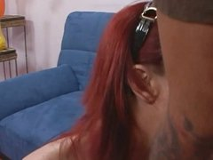 Pale redhead MILF rider