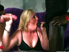 Slutty blonde girl gets a huge black