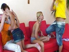 Skinny teen sluts in foursome