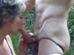 Outdoor fuck with GF in sexy lingerie