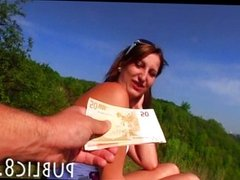 Amateur model fucks outdoor for money