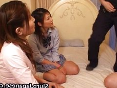 Japanese sluts take turns to suck cock