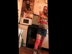 Girl eats all her pudding covered in spunk