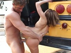Deepthroating bus drivers cock