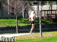 Blonde runner picked up and fucked at home