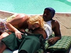 Blond girl and her big black dick