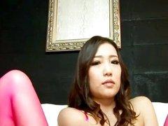 Lovely brunette whore in her pink lingerie te