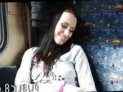 Cute brunette amateur fucks on a public train