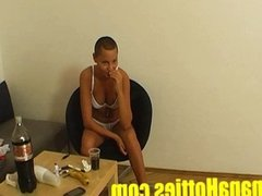 Cute shaved lady masturbates at  1st casting