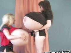 Two sexy girls skippy ball like huge