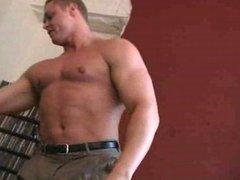 Bodybuilder Jordan spits on his dick