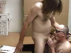 Lovely redneck office gay couple banging