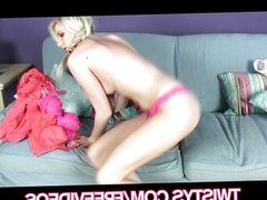 Blonde teen with pig-tails strips down