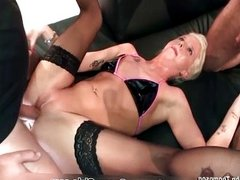 Skinny blonde chick gets her tight pussy