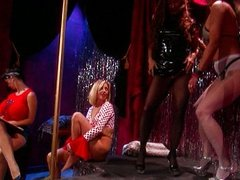 Pantyhose stripping lesbians party hard
