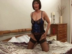 Mature mom in sexy black stockings