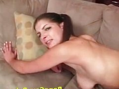 Teen brunette with big tits is fucked good