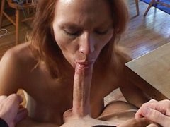 Redhead sucking shaved cock