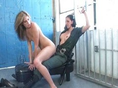 Blonde babe loves riding this prison