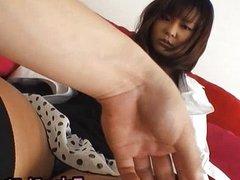 Airi hot Asian model showing off her panties