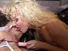 Blonde lesbians ride dildos