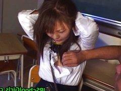 Cute asian schoolgirl tied up