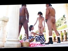 Asian teens fucking black cocks outdoors