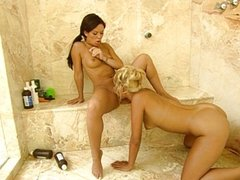 Lesbian shower pussy massage