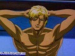 Anime man with six pack gangbanged