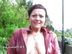 Crazy exhibitionist milf squirting in public