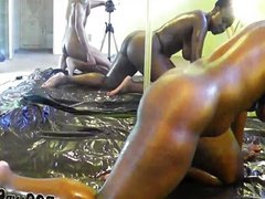 Oiled black ass fucked hard in the ass
