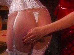 Latex lingerie sluts spanking in hot action