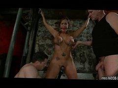 Bondage girl gets pussy stimulation