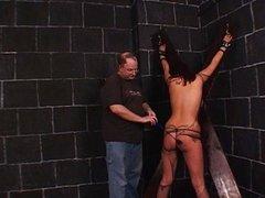 Sexy bondage babe spanked so short
