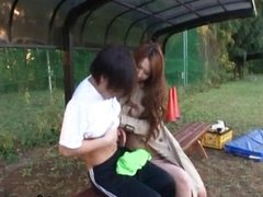 Ai Sayama Japanese babe has outdoor sex