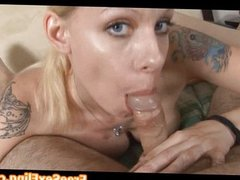 Amateur Blonde Tattooed Babe Blowjob POV