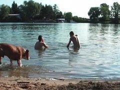 Two twinks on public beach