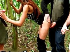 Busty babe loves dogging in the woods