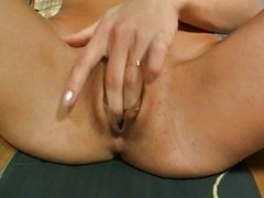 Horny babe masturbates vagina to orgasm