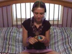 Teen testing her new dildo