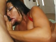 Sandra plays with one dildo and two cocks