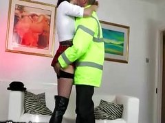Mature lady fucks a horny man in uniform